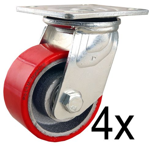 4 pieces swivel castors, 200kg each, PU- coated, 00212