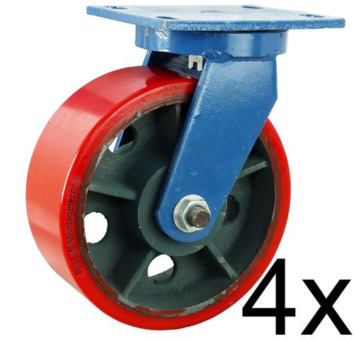 4 pieces swivel castors, 1800kg each, heavy duty castors, PU- coated, 00210