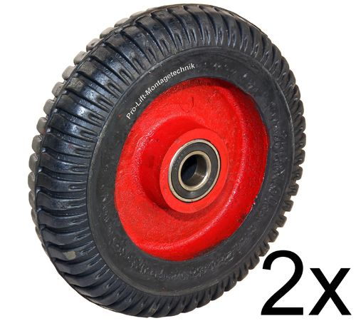 2 pieces heavy duty castors, 350kg each, 200mm diameter, red/black, 00219
