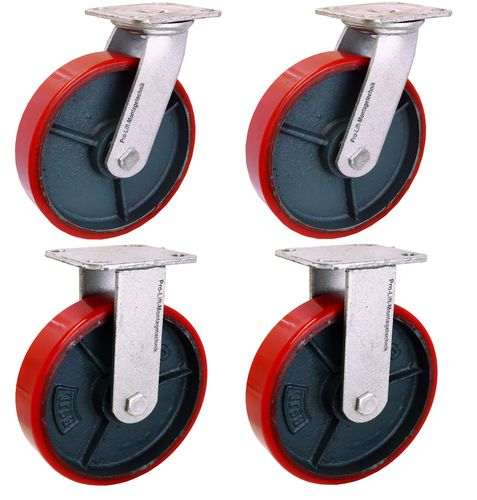 4 pieces heavy duty castors, 2 swivel castors + 2 fixed castors, 350kg each, PU coating, 00284