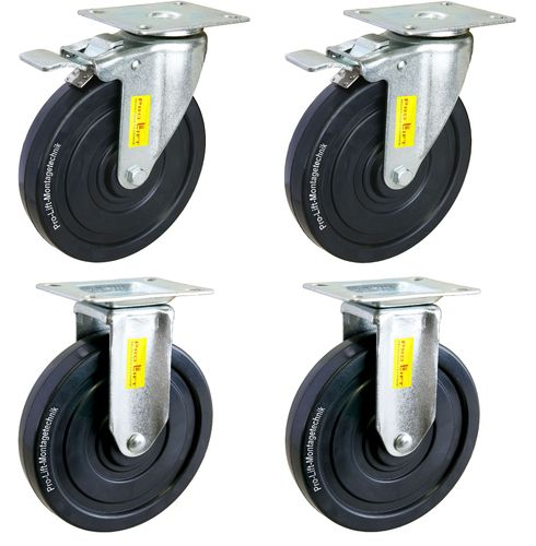 Heavy duty castors, 4 x 150 kg, 2 swivel castors with brake + 2 fixed castors, 00499