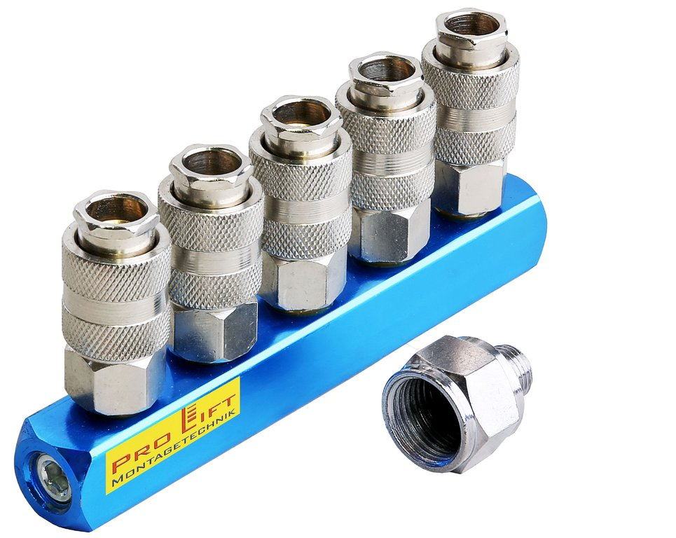 5 Way Compressed Air Manifold Quick Coupling 1 4