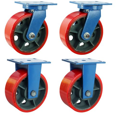 4 heavy duty castors, 2 swivel + 2 fixed castors, 1800 kg each, 00674
