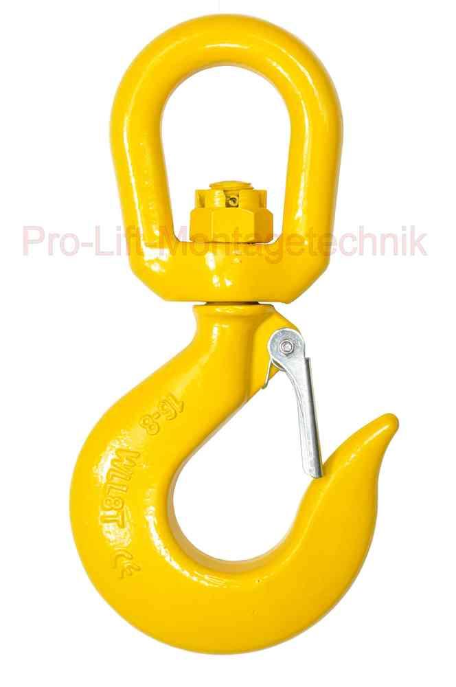 8t Haken drehbarer Wirbelhaken Lasthaken aufklappbar gelb SL83