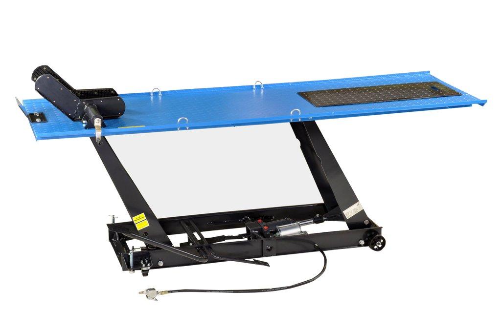 Motorradhebebühne, Parallelogramm, 450kg mit Pneumatik + Fußpedal-Antrieb, blau, PLB450-PAJ, 01646