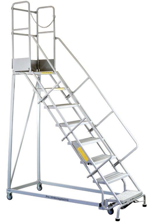 podestleiter rollbar mit handlauf leiter 8 stufen lc358 01758 pro lift montagetechnik. Black Bedroom Furniture Sets. Home Design Ideas