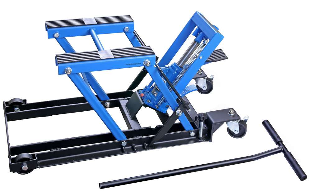 Motorcycle lift 680 kg, with foot pump, parallel, blue, ML70HKJ, 01942