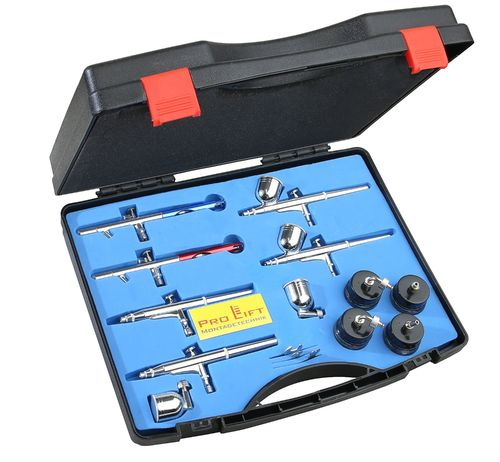 Airbrush Set mit 6 Pistolen , Double-Action BD812F , 00188